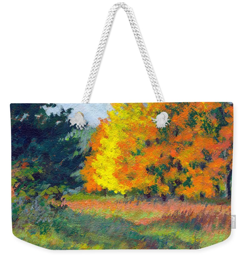 Landscape Weekender Tote Bag featuring the painting Autumn Etude by Keith Burgess