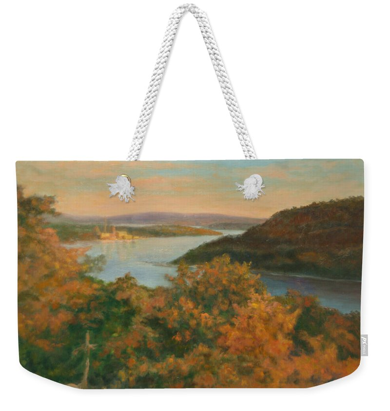 Landscape Weekender Tote Bag featuring the painting Autumn Hudson Highlands by Phyllis Tarlow