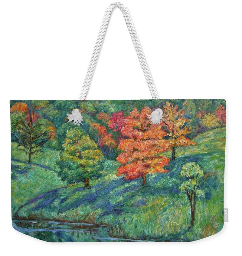 Landscape Weekender Tote Bag featuring the painting Autumn Pond by Kendall Kessler