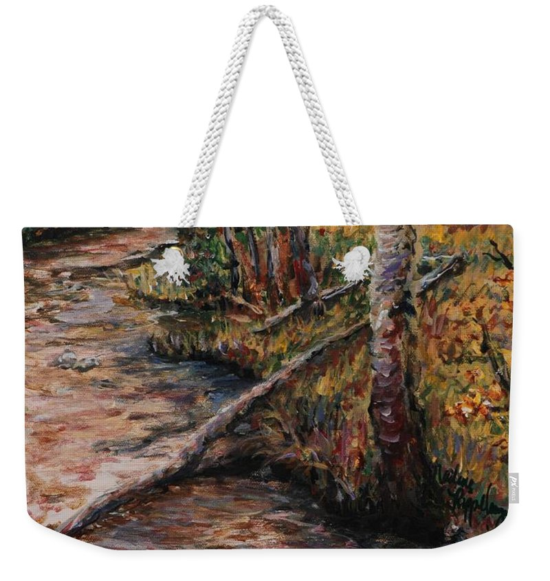Landscape Weekender Tote Bag featuring the painting Autumn Reflections by Nadine Rippelmeyer