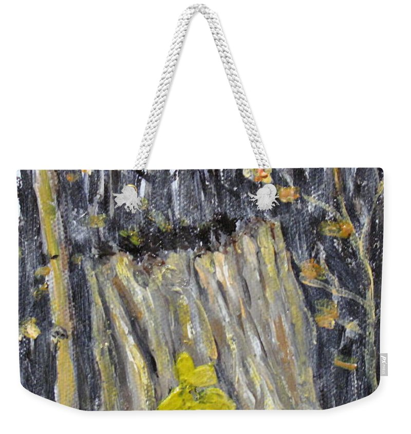 Stump Weekender Tote Bag featuring the painting Autumn Stump by Ian MacDonald