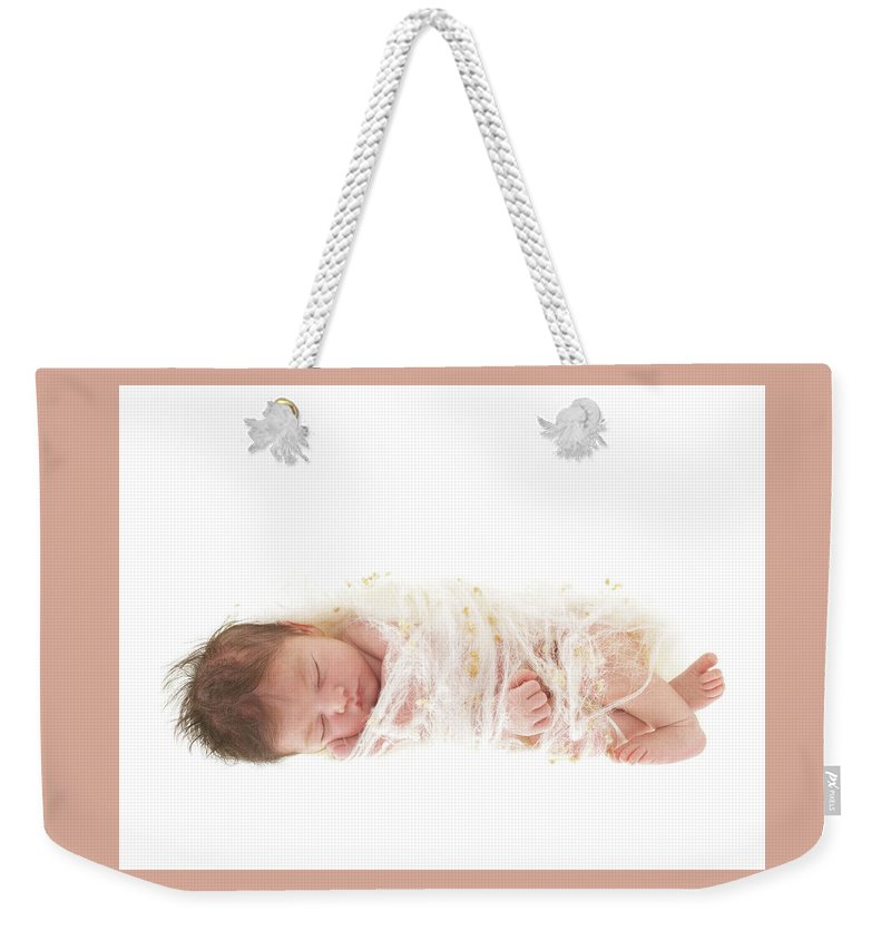 Newborn Weekender Tote Bag featuring the photograph Ava As A Cocoon by Anne Geddes
