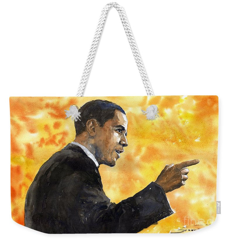 Watercolour Weekender Tote Bag featuring the painting Barack Obama 02 by Yuriy Shevchuk
