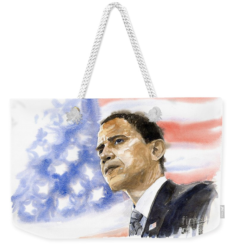 Watercolour Weekender Tote Bag featuring the painting Barack Obama 03 by Yuriy Shevchuk