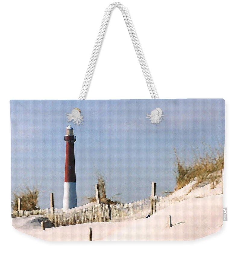 Barnegat Weekender Tote Bag featuring the photograph Barnegat Lighthouse by Steve Karol