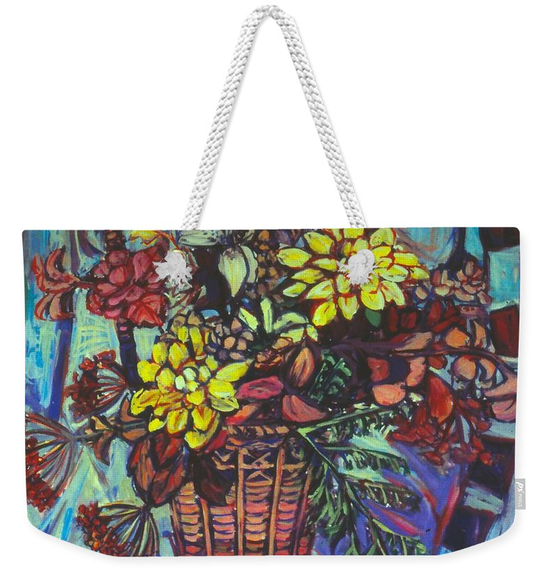 Still Life Weekender Tote Bag featuring the painting Basket of Yellow by Kendall Kessler