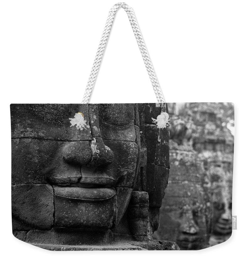 Bayon Weekender Tote Bag featuring the photograph Bayon Temple - Angkor by Patrick Klauss