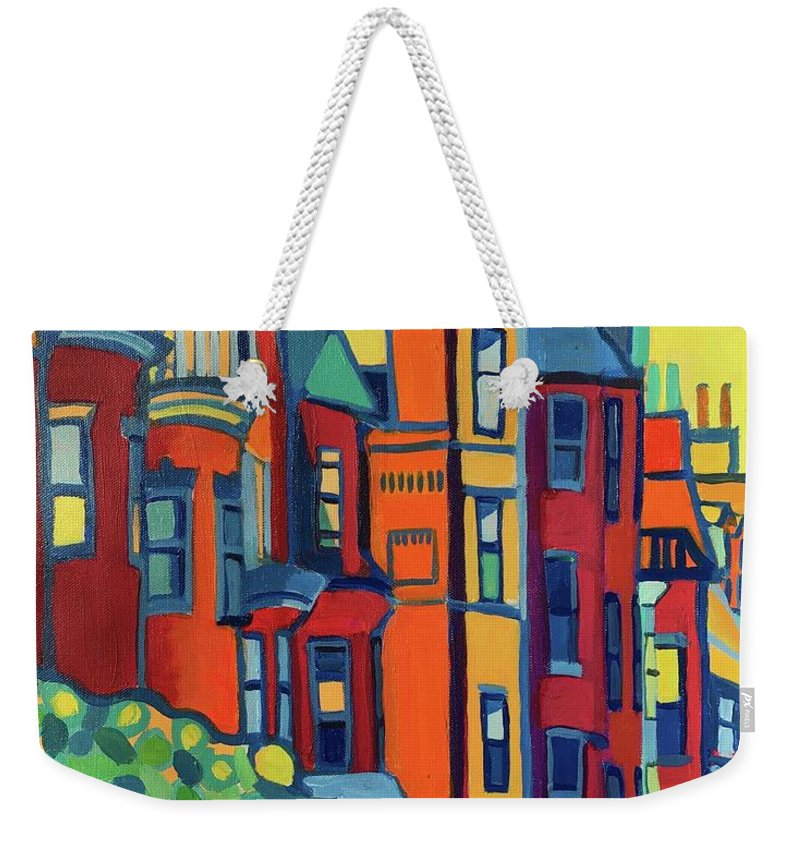 Architecture Weekender Tote Bag featuring the painting Beacon Street Back Bay Boston by Debra Bretton Robinson