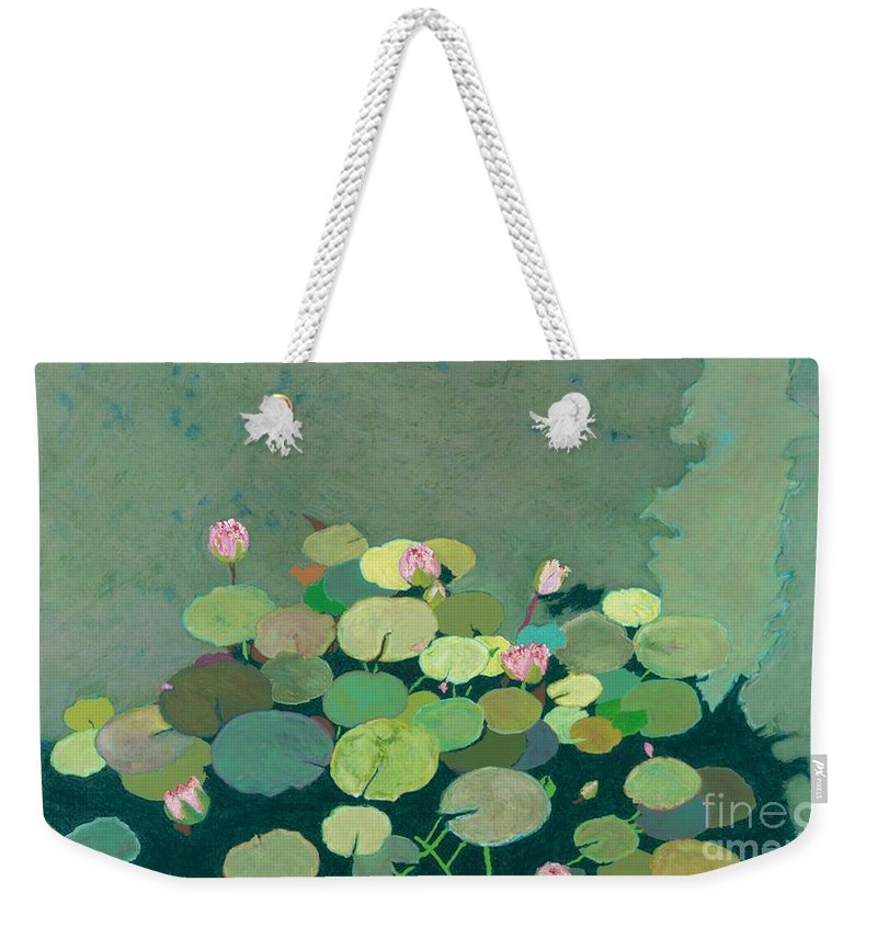 Landscape Weekender Tote Bag featuring the painting Bettys Serenity Pond by Allan P Friedlander