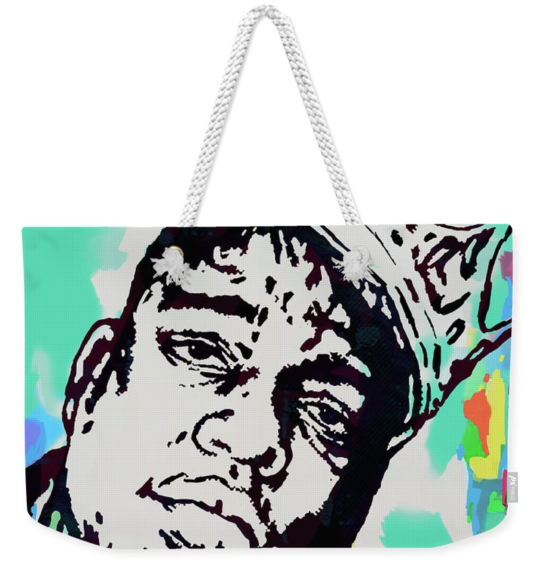 Biggie Smalls Colour Drawing Art Poster - Pop Art Weekender Tote Bag featuring the mixed media Biggie Smalls - pop art poster 1 by Kim Wang