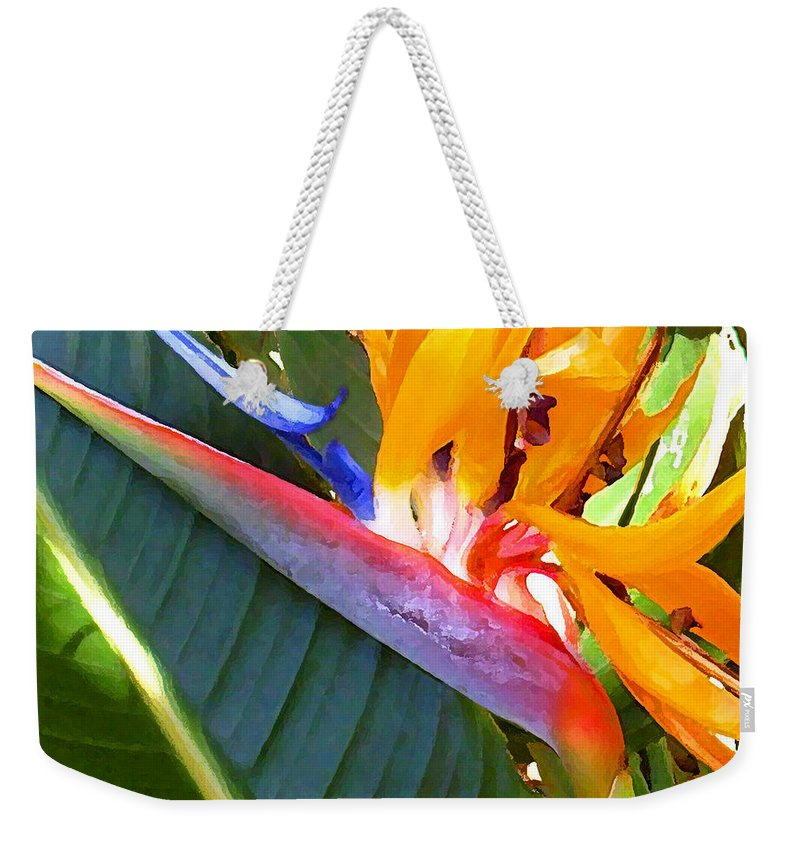 Hawaii Greeting Cards Weekender Tote Bag featuring the photograph Bird of Paradise by James Temple