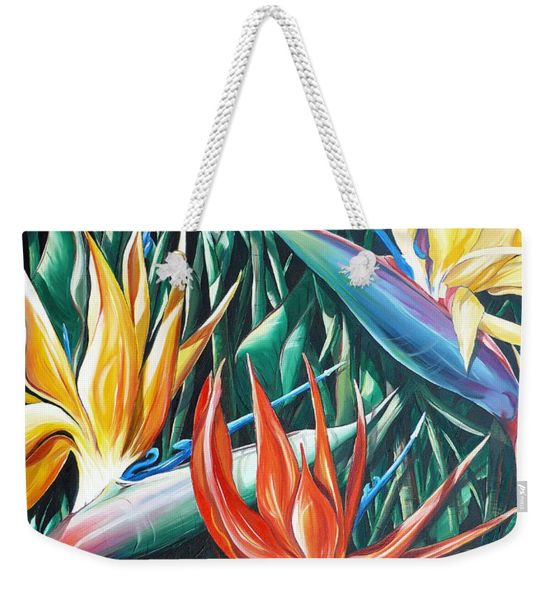Caribbean Painting Bird Of Paradiseppainting Lily Painting Tropical Musa Painting  . Strelitzer Painting Caribbean Flora Paintingl Flower Red Yellow Painting Greeting Card Painting Weekender Tote Bag featuring the painting Birds Of Paradise Sold  by Karin Dawn Kelshall- Best