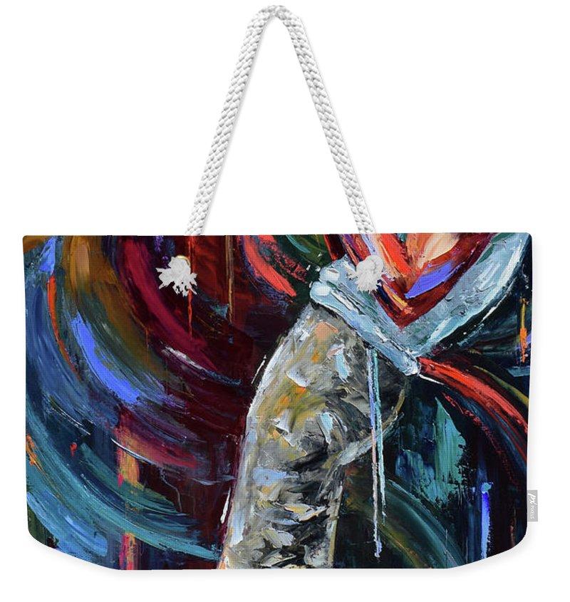 Miles Davis Weekender Tote Bag featuring the painting Birth of Cool by Debra Hurd