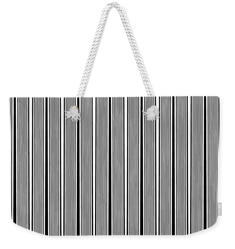Blackandwhite Weekender Tote Bag featuring the digital art Black and white stripes by Maria Rzeszotarska