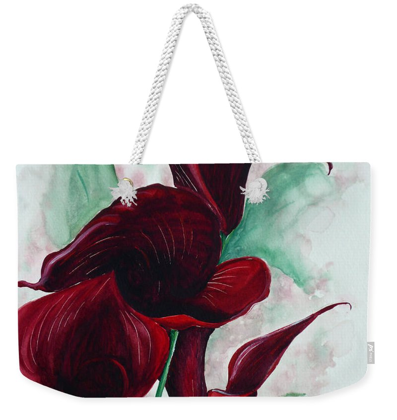 Flower Painting Floral Painting Botanical Painting Tropical Painting Caribbean Painting Calla Painting Red Lily Painting Deep Red Calla Lilies Original Watercolor Painting Weekender Tote Bag featuring the painting Black Callas by Karin Dawn Kelshall- Best