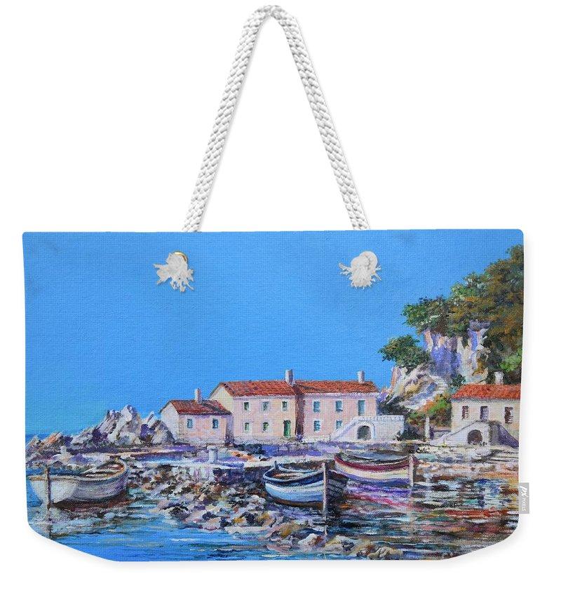 Original Painting Weekender Tote Bag featuring the painting Blue Bay by Sinisa Saratlic