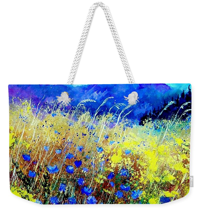 Poppies Weekender Tote Bag featuring the painting Blue cornflowers 67 by Pol Ledent