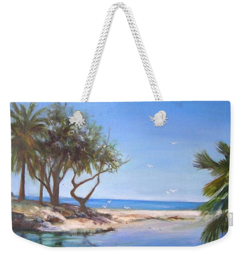 Ocean Weekender Tote Bag featuring the painting Blue Lagoon by Barbara Couse Wilson