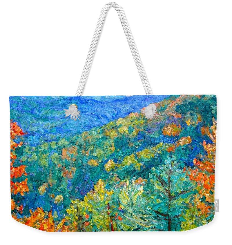 Blue Ridge Mountains Weekender Tote Bag featuring the painting Blue Ridge Autumn by Kendall Kessler