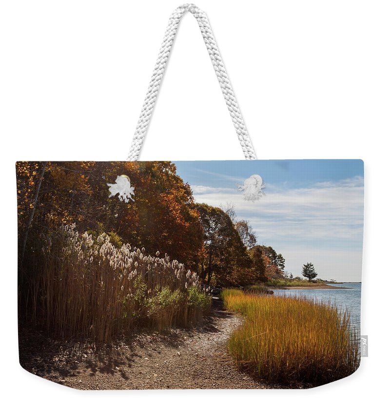 Bluff Point Weekender Tote Bag featuring the photograph Bluff Point Stroll by Kirkodd Photography Of New England