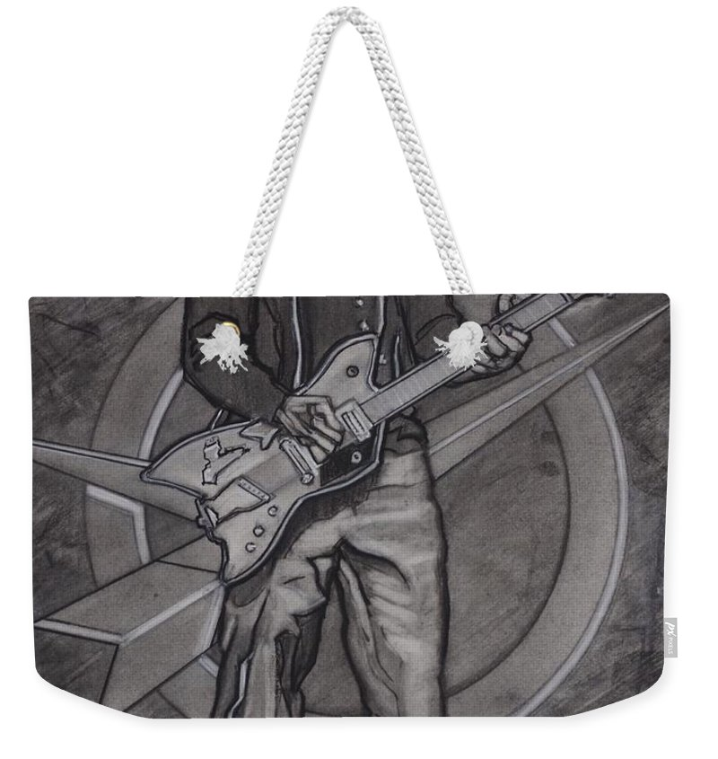 Texas Weekender Tote Bag featuring the drawing Bo Diddley - Have Guitar Will Travel by Sean Connolly