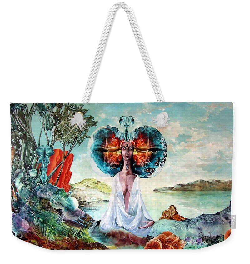 Surrealism Weekender Tote Bag featuring the painting Bogomils Landing by Otto Rapp