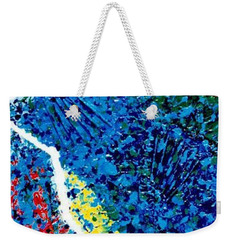 Abstract Weekender Tote Bag featuring the painting Borders by Micah Guenther