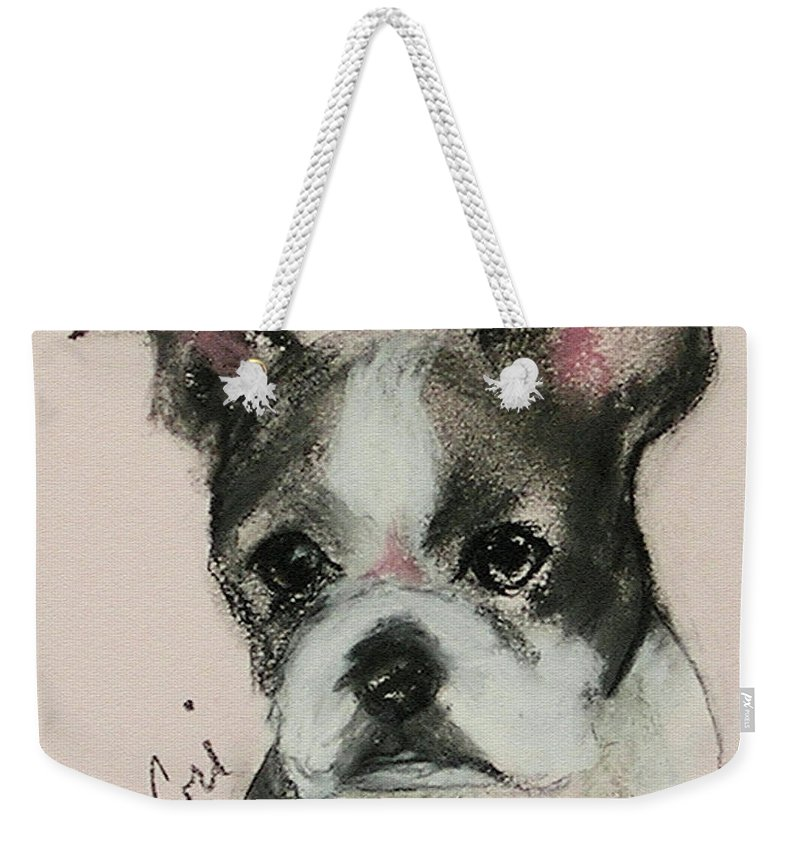 Pastel Weekender Tote Bag featuring the drawing Bostonian by Cori Solomon