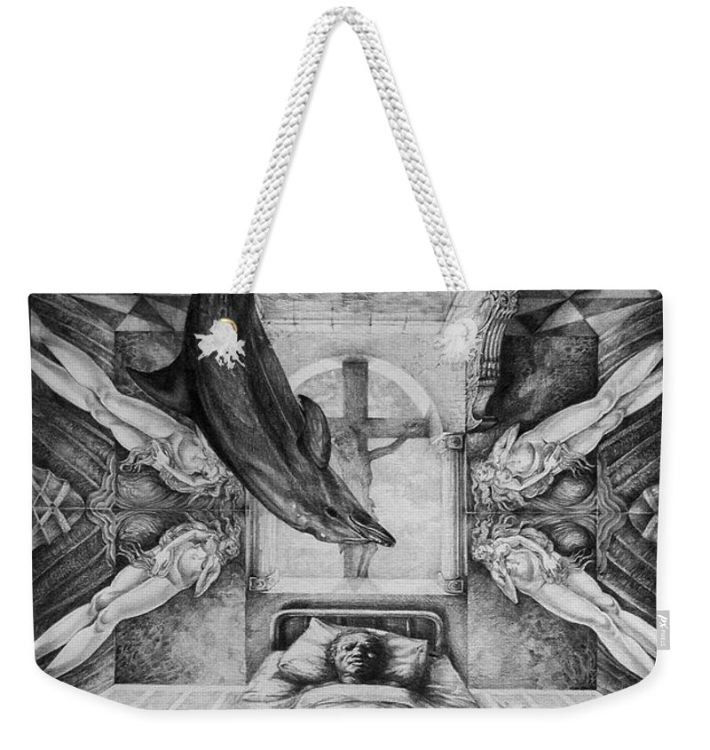 Surrealism Weekender Tote Bag featuring the drawing Botticellis Dream by Otto Rapp