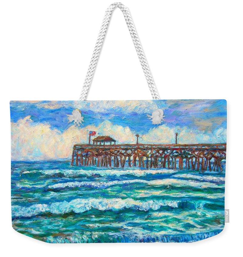 Shore Scenes Weekender Tote Bag featuring the painting Breakers at Pawleys Island by Kendall Kessler