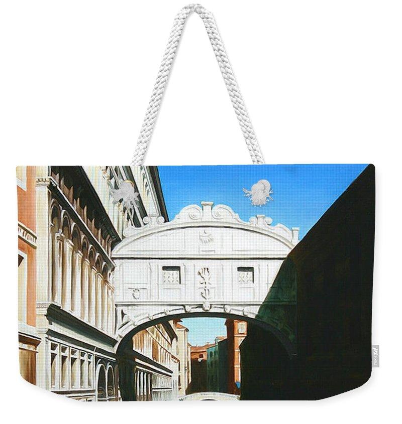 Bridge Of Sighs Weekender Tote Bag featuring the painting Bridge Of Sighs Venice Italy by Gary Hernandez