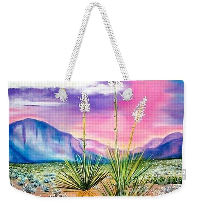Desert Weekender Tote Bag featuring the painting Bright Desert by Melinda Etzold
