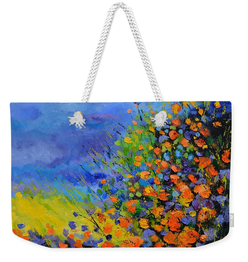 Landscape Weekender Tote Bag featuring the painting Bright summer colours by Pol Ledent