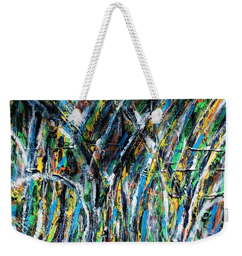 Blue Weekender Tote Bag featuring the painting Bright Summer Day by Pam Roth O'Mara