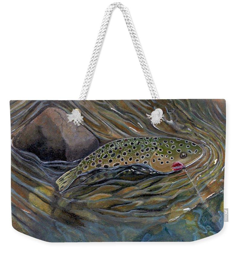Rick Huotari Weekender Tote Bag featuring the painting Brown II by Rick Huotari