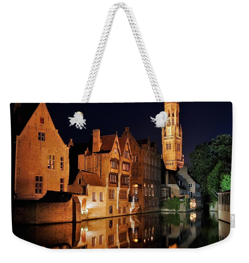 3scape Photos Weekender Tote Bag featuring the photograph Brugge Night by Adam Romanowicz