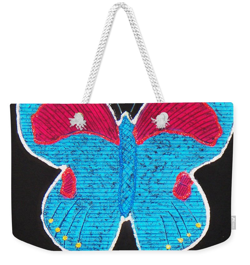 Drawing Weekender Tote Bag featuring the mixed media Butterfly by Sergey Bezhinets