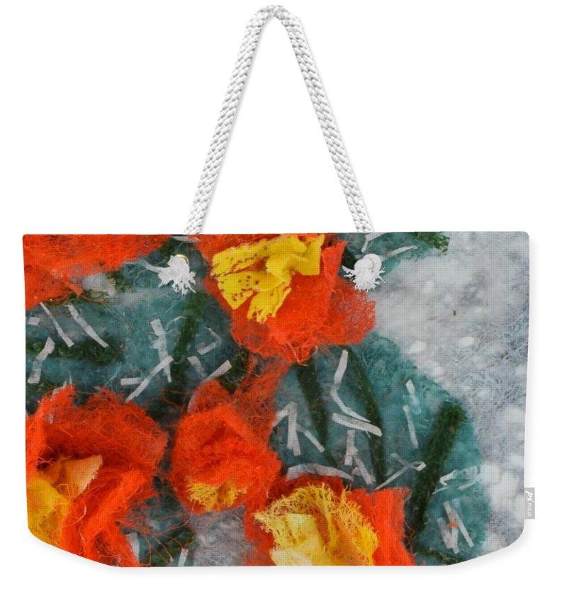 Dryer Sheets Weekender Tote Bag featuring the mixed media Cactus Flowers by Charla Van Vlack