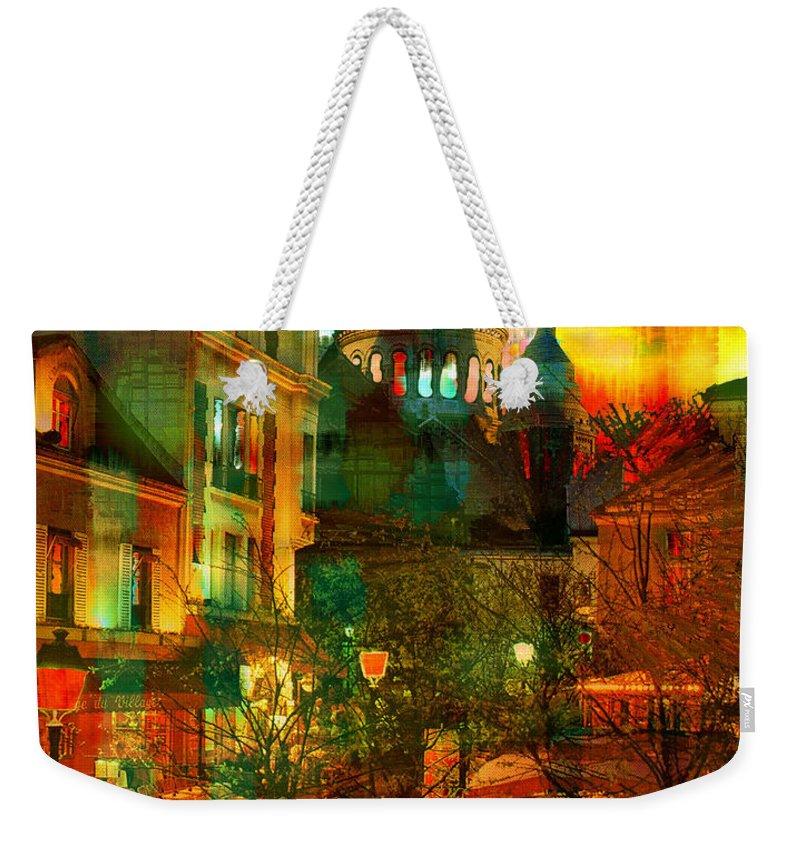 Paris Weekender Tote Bag featuring the digital art Cafe Rue Morgue by Seth Weaver