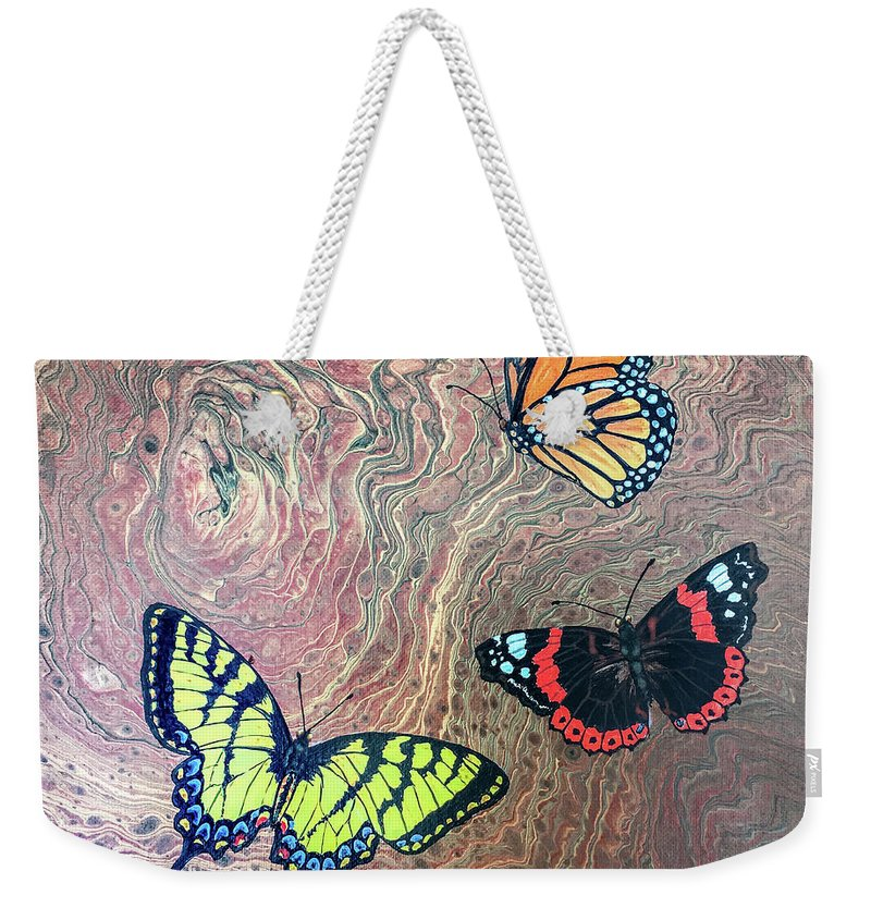 Butterflies Weekender Tote Bag featuring the painting California Butterflies by Lucy Arnold