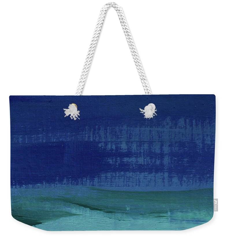 Abstract Art Weekender Tote Bag featuring the painting Calm Waters- Abstract Landscape Painting by Linda Woods