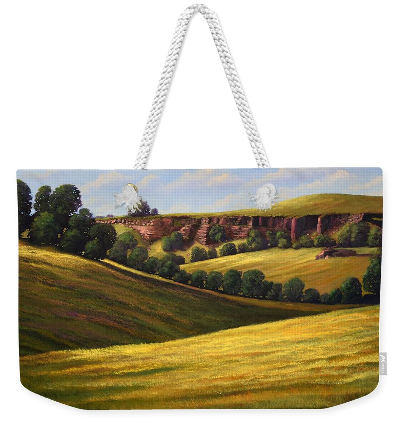 Landscape Weekender Tote Bag featuring the painting Canyon Oaks by Frank Wilson