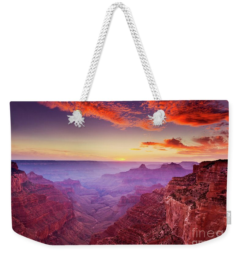 Grand Canyon Arizona Weekender Tote Bag featuring the photograph Cape Royal Sunset, Grand Canyon National Park, Arizona, Usa by Neale And Judith Clark
