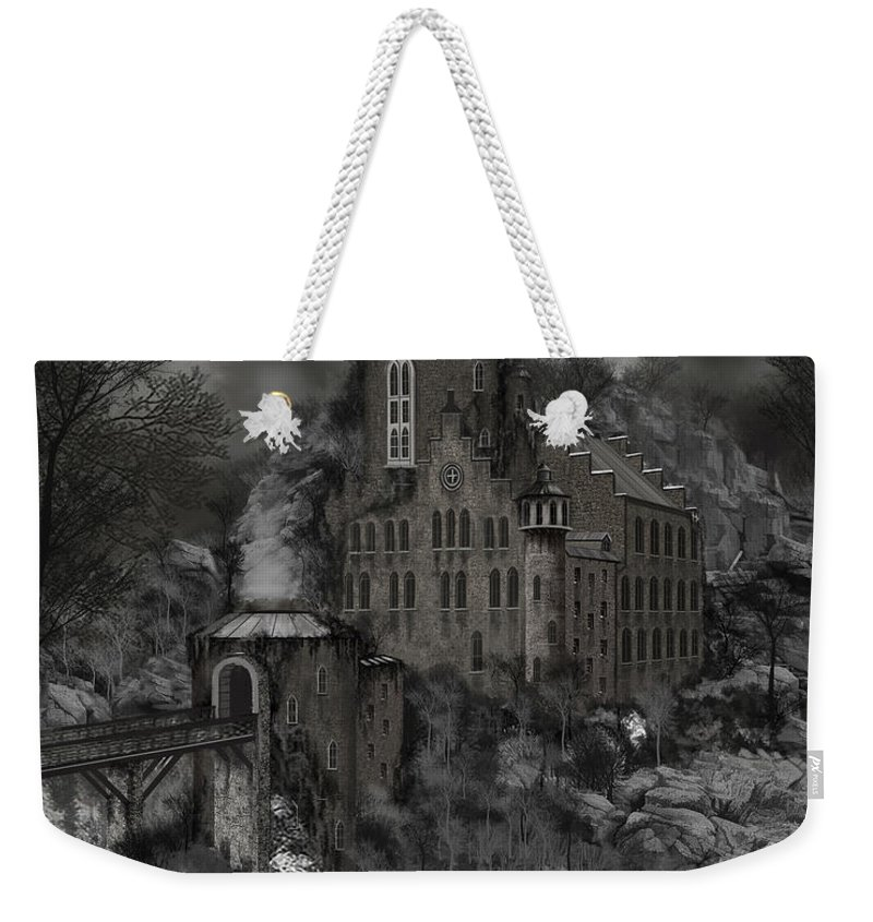 Castle Weekender Tote Bag featuring the painting Casa Los Diavla by James Christopher Hill
