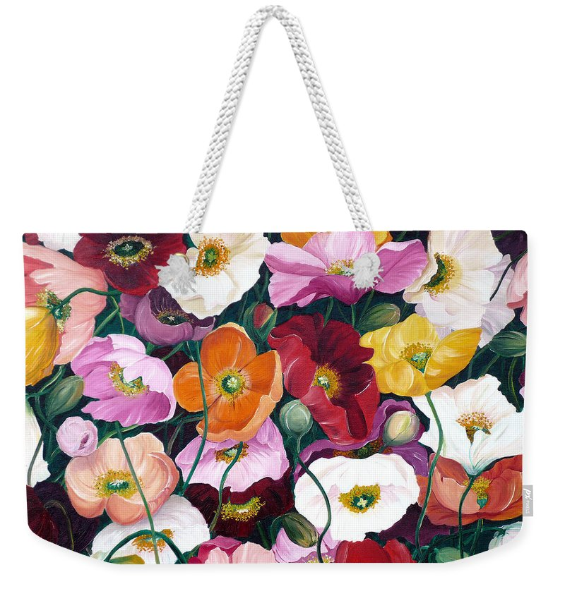 Flower Painting Floral Painting Poppy Painting Icelandic Poppies Painting Botanical Painting Original Oil Paintings Greeting Card Painting Weekender Tote Bag featuring the painting Cascade Of Poppies by Karin Dawn Kelshall- Best