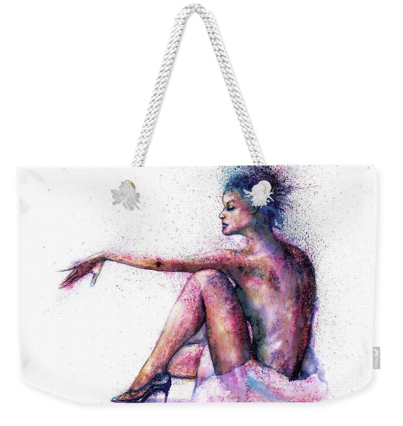 Woman Weekender Tote Bag featuring the painting Cat original oil painting by Natalja Picugina
