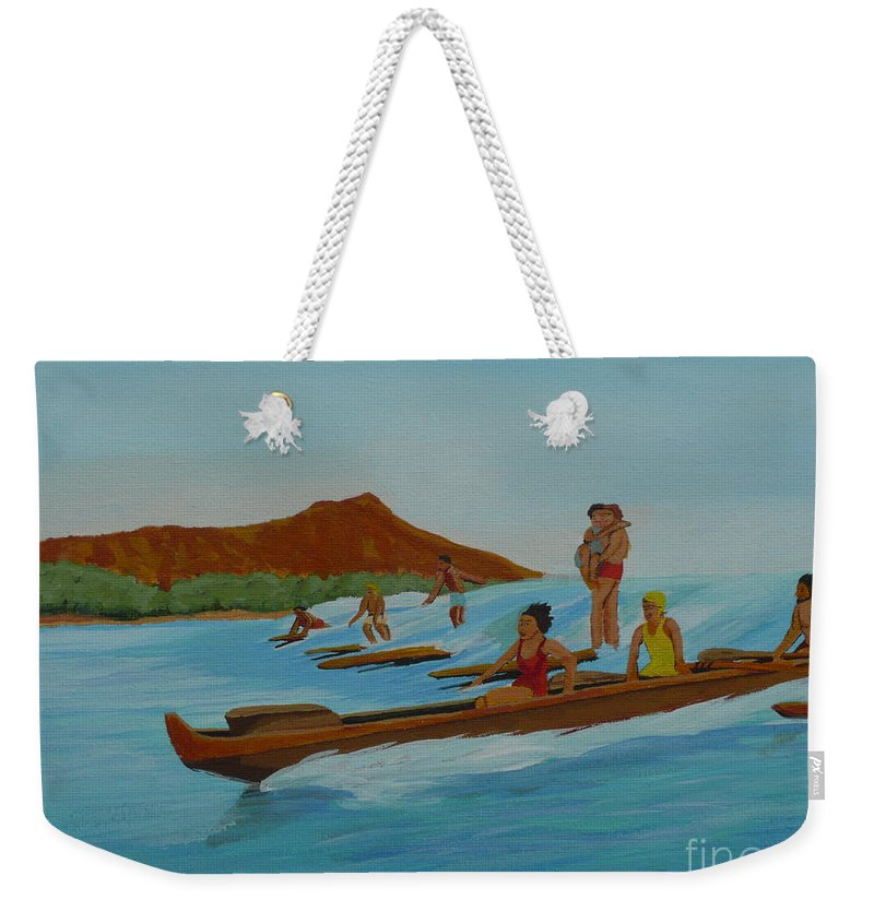 Hawaii Weekender Tote Bag featuring the painting Catching a Waikiki Wave by Anthony Dunphy
