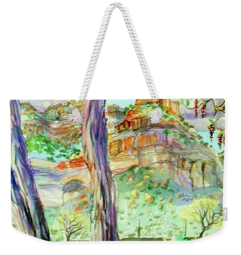 Plein Air Watercolor Framed And Matted With Hanger Pastels Early Spring Debeque Canyon Weekender Tote Bag featuring the painting Catkins and the Colorado River by Annie Gibbons