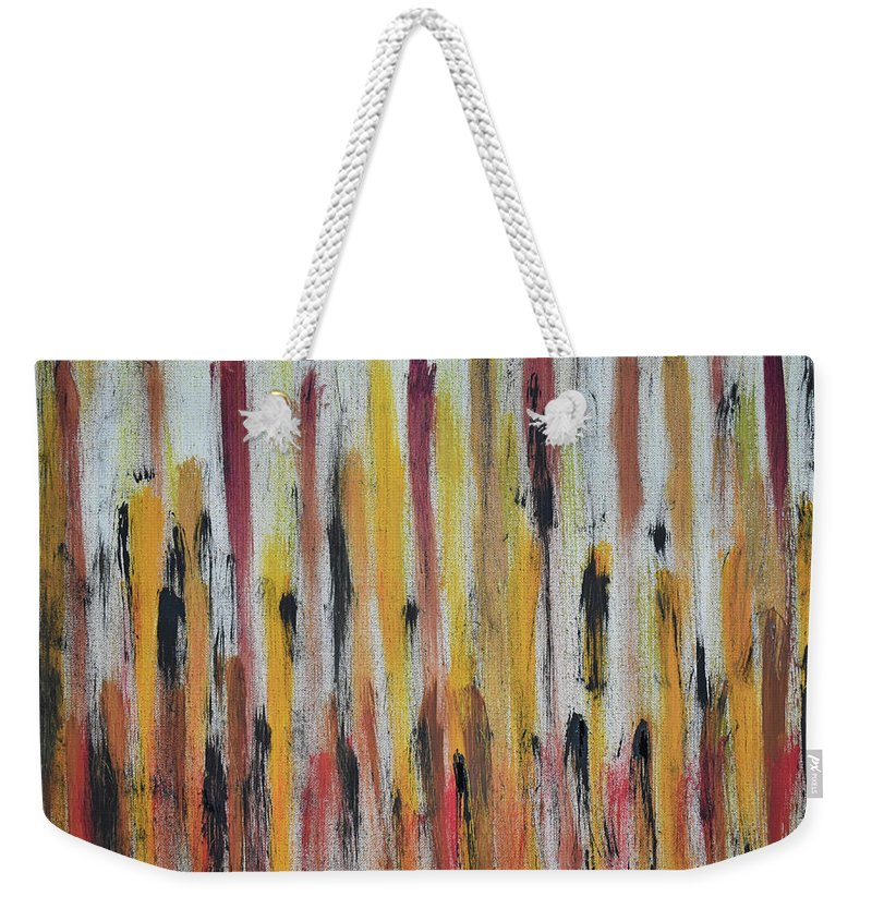 Red Weekender Tote Bag featuring the painting Cattails at Sunset by Pam Roth O'Mara