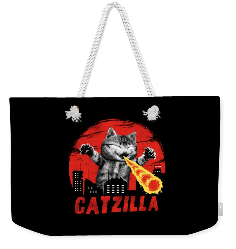 Cat Weekender Tote Bag featuring the digital art Catzilla by Vincent Trinidad
